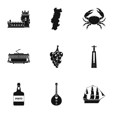 Portuguese republic icons set, simple style