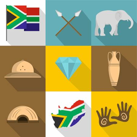 African people icons set, flat style