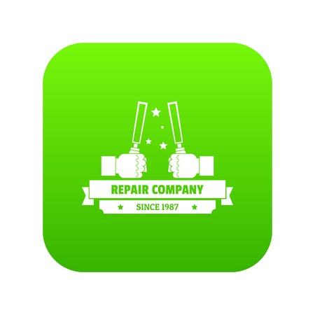 Repair company icon green vector