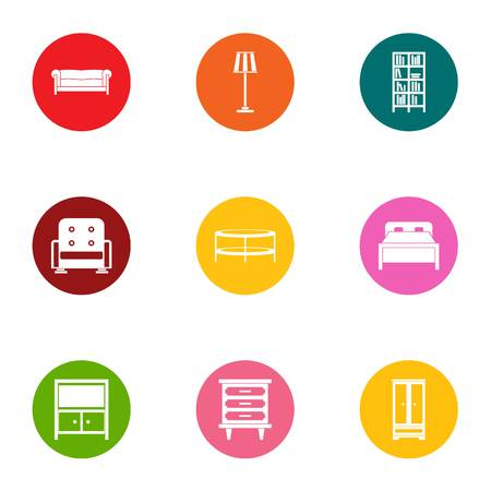 Recliner icons set, flat style