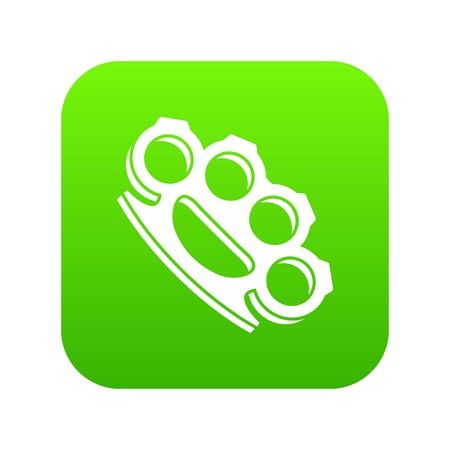 Brass knuckles icon digital green