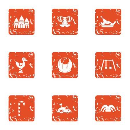 Toddler match icons set, grunge style