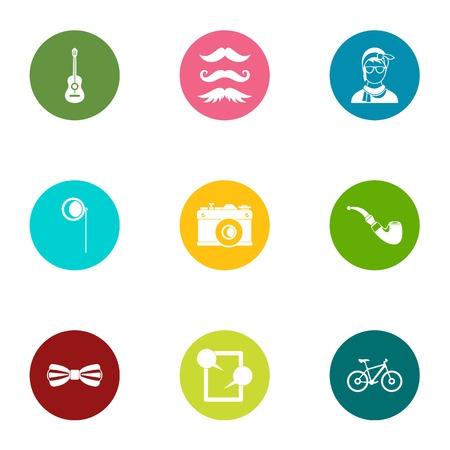 Physiognomy icons set, flat style Illustration