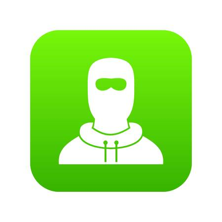 Man in balaclava icon digital green
