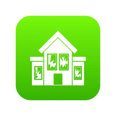 House with broken windows icon digital green