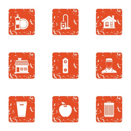 Boarding house icons set, grunge style 矢量图像