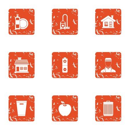 Boarding house icons set, grunge style Illustration