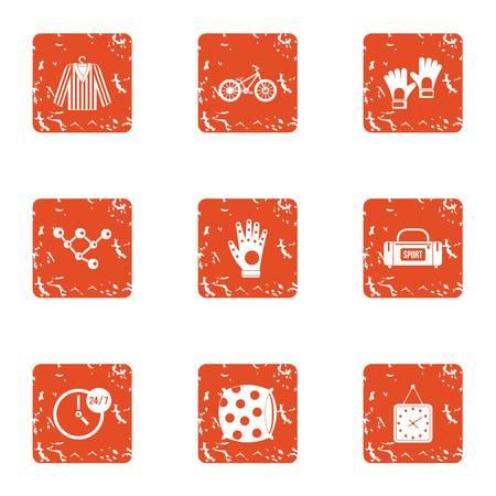 Textile icons set, grunge style Illusztráció
