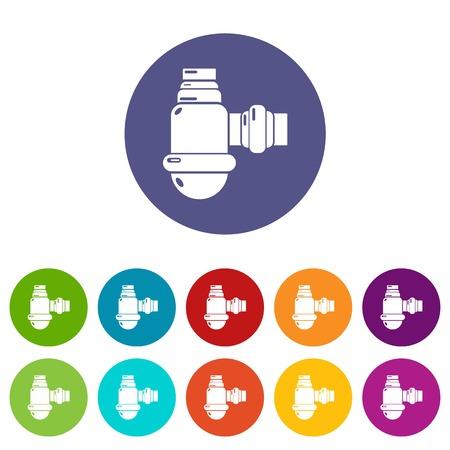 Sewage siphon icons set vector color