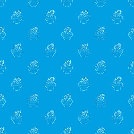 Cactus pattern vector seamless blue