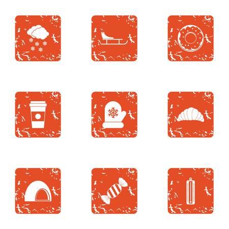 Conservatory icons set, grunge style 일러스트