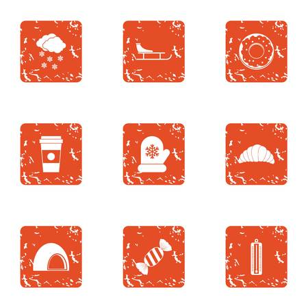 Conservatory icons set, grunge style Vectores