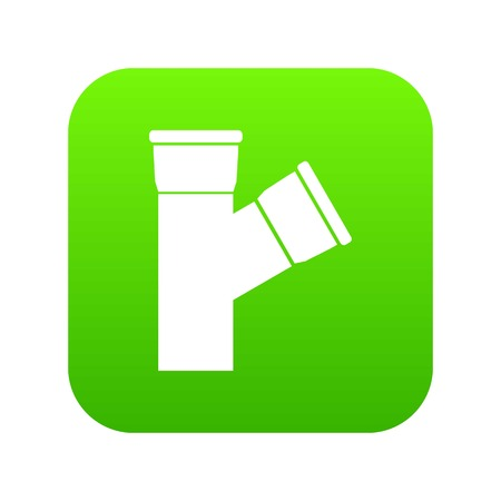 Plastic pipe connection icon digital green