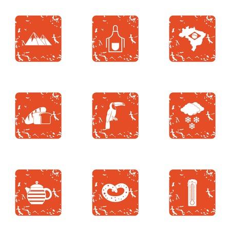 Warm edge icons set, grunge style Illustration