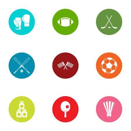 Sport age icons set, flat style Illusztráció