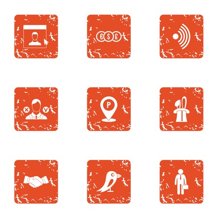 Business segment icons set, grunge style