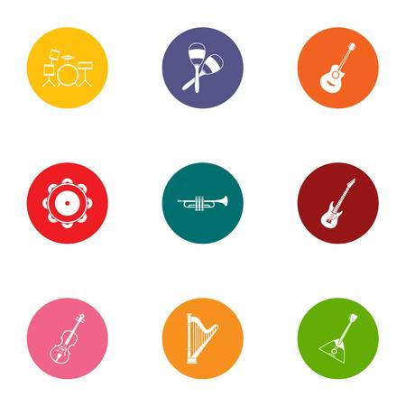 Musical experience icons set, flat style Illustration