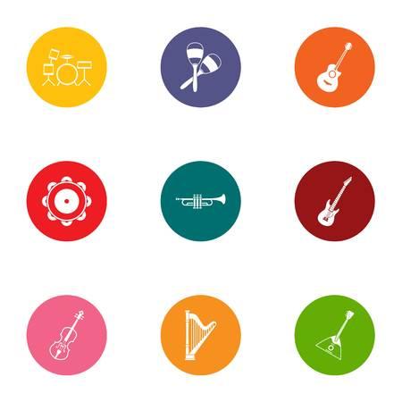 Musical experience icons set, flat style Ilustração