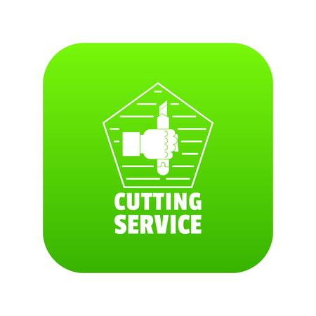 Cutting sevice icon green vector Vettoriali