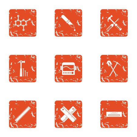 Composite material icons set, grunge style Illustration