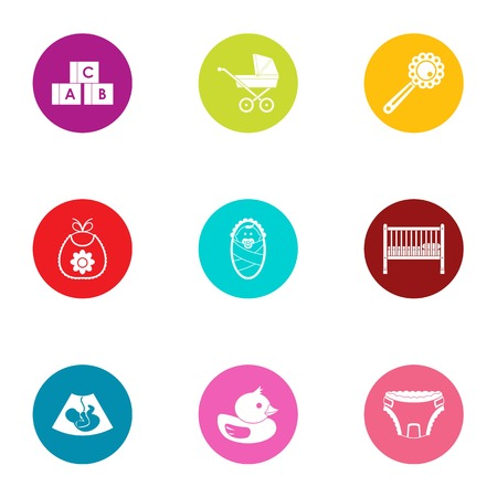 Children age icons set, flat style Illustration