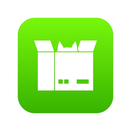 Cat in a cardboard box icon digital green  イラスト・ベクター素材