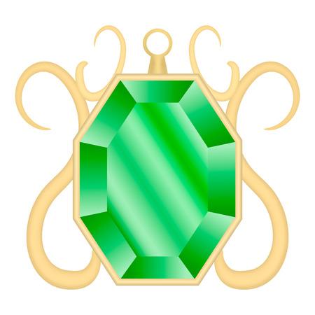 Emerald gemstone mockup, realistic style Ilustrace