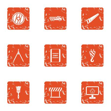 Building partition icons set, grunge style