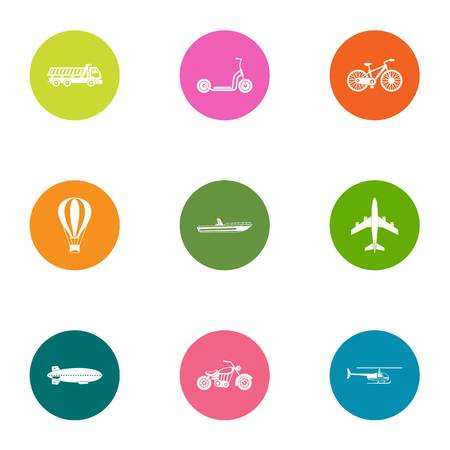 Transport orientation icons set, flat style Çizim