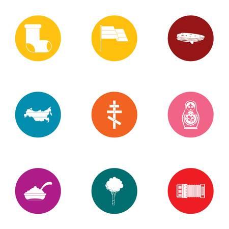 Russian validity icons set, flat style Stock Illustratie
