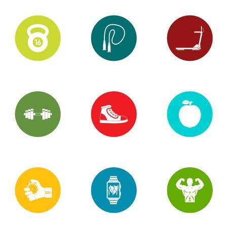 Unique body icons set, flat style Illusztráció