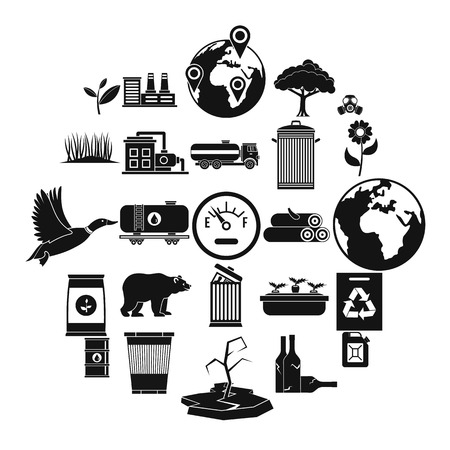 Enviroment protection icons set, simple style Vettoriali