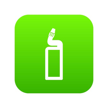 Plastic bottle of drain cleaner icon digital green Illustration