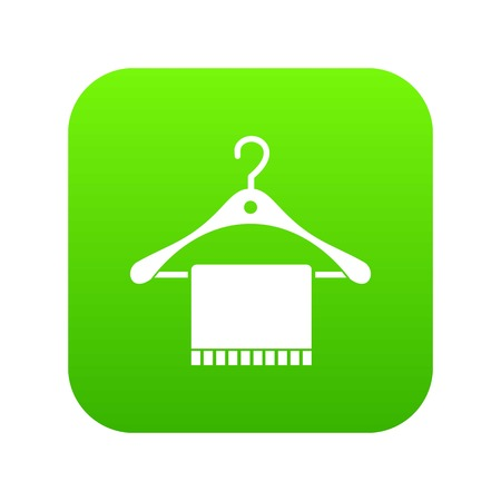 Scarf on coat hanger icon digital green