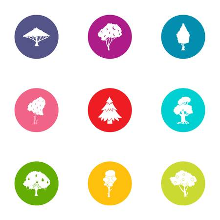 Verdant icons set, flat style Ilustração