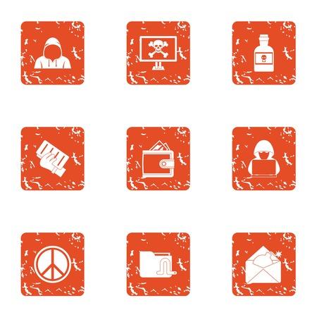 Exploit icons set, grunge style Illustration