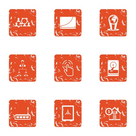 Command search icons set, grunge style Illustration