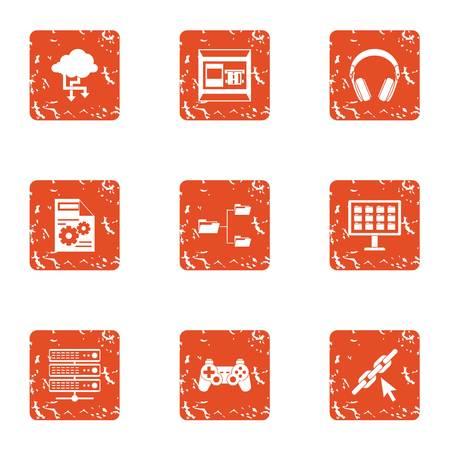 Date advice icons set, grunge style Illustration