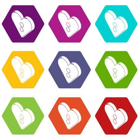 Heart clothes button icons set 9 vector
