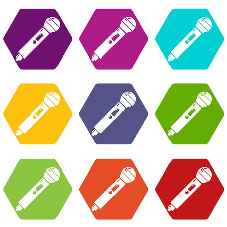 Microphone icons 9 set coloful isolated on white for web