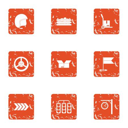 Route is served icons set, grunge style Illustration