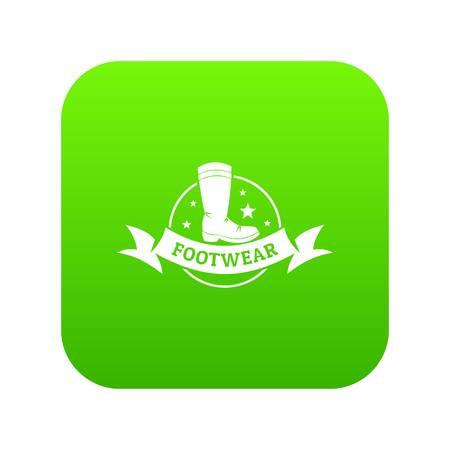 Footwear icon green vector Stock Vector - 103303442