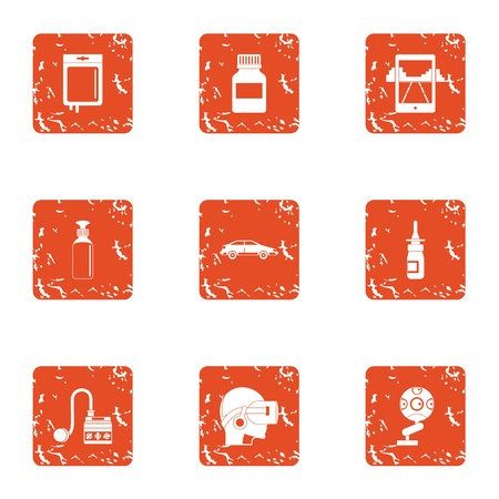 Virtual cleaning icons set, grunge style
