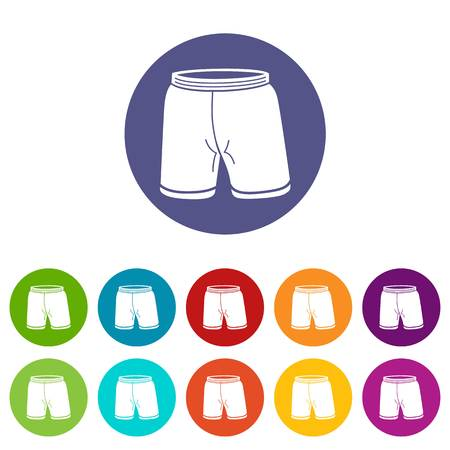 Shorts icons set vector color