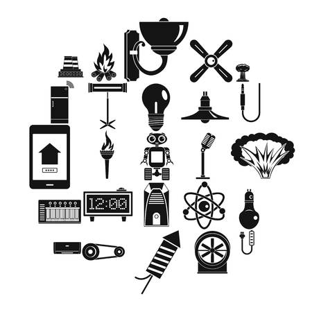 Nuclear power icons set, simple style Illustration