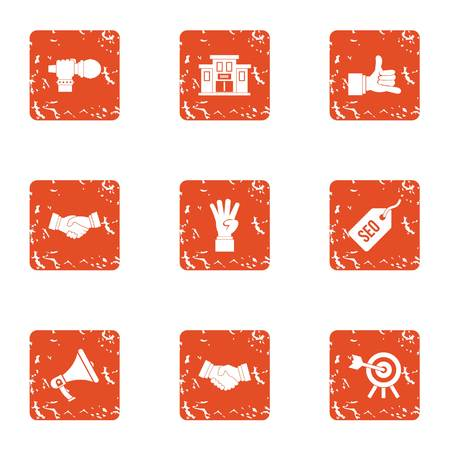 Overview icons set, grunge style Ilustrace