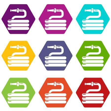 Garden watering hose icons set 9 vector