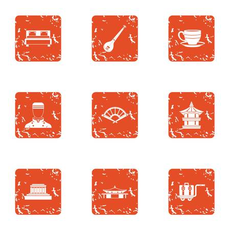 Room cleaning icons set, grunge style Illustration