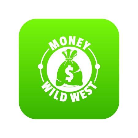 Money wild west icon green vector Illustration