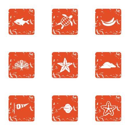 Windy coast icons set, grunge style Illustration